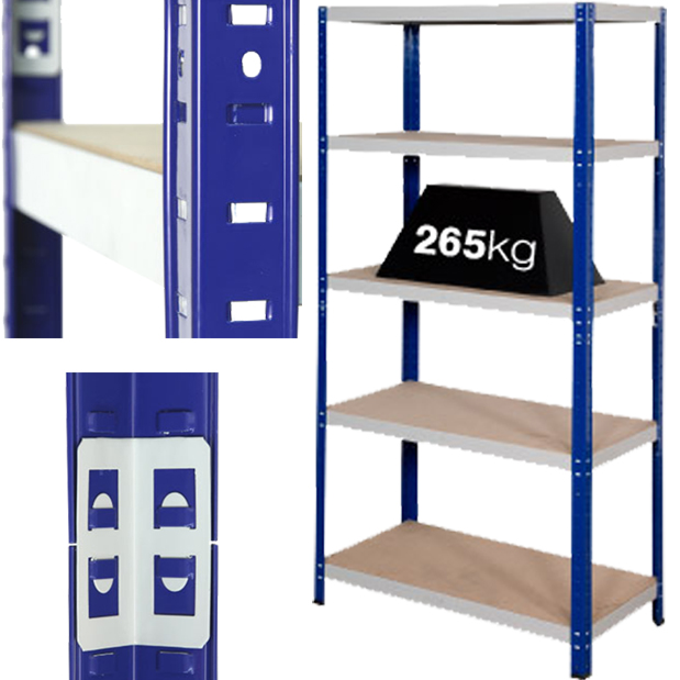 2 x Bays Of Super Heavy Duty Industrial Warehouse Shelving 1800x900x300mm, 265kg Load Per Shelf (5 Shelves Per Bay)